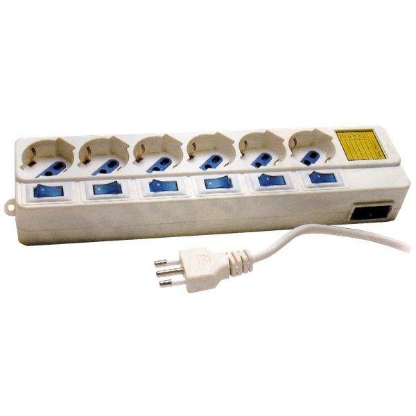 Prese multiple MKC - Con interruttori singoli - 6 (Schuko-Bipasso 10/16A) - 16A - bianco - 492518038