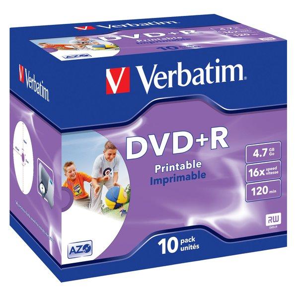 DVD Verbatim Verbatim - DVD+R - 4,7 Gb - 16x - Stampabile - Jewel case - 43508 (conf.10)