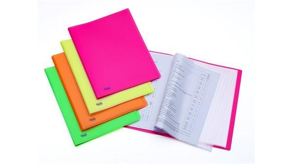 Favorit 400102290 Portalistino Neon con 40 Buste Formato Interno 22X30 cm Giallo Fluo