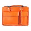 Borsa ventiquattrore in vera pelle arancione