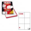 Etichetta adesiva c/540 bianca 100fg A4 105x99mm (6et/fg) markin - Z01445