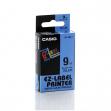 Nastro casio 9mm x 8mt nero su blu - Z01631