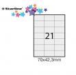 Etichetta adesiva bianca 100fg A4 70x42,3mm (21et/fg) starline - Z09087