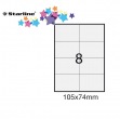 Etichetta adesiva bianca 100fg A4 105x74mm (8et/fg) starline - Z09094