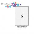 Etichetta adesiva bianca 100fg A4 105x99mm (6et/fg) starline - Z09095