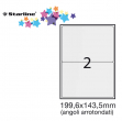 Etichetta adesiva bianca 100fg A4 199,6x143,5mm (2et/fg) angoli tondi starline - Z09111