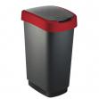 Pattumiera 50lt in ppl nero/rosso coperchio basculante rotho - Z10698