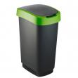 Pattumiera 50lt in ppl nero/verde coperchio basculante rotho - Z10699