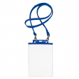 10 portanome pass 7st-m 15x21cm (A5) blu con cordoncino blu - Z12439